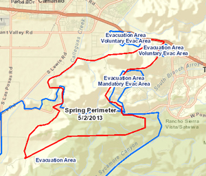 Map of area burned by the Springs Fire, which has charred more than 18,000 acres near Camarillo. (Ventura County Fire Department map)