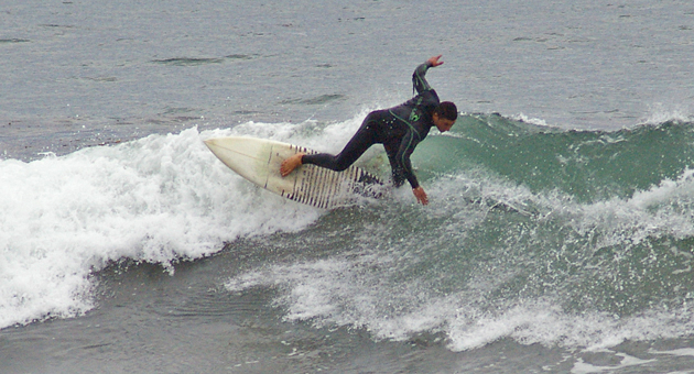 <p>A surfer at UCSB&#8217;s Campus Point on Saturday takes advantage of higher surf associated with a series of storms that have been moving across Santa Barbara County.</p>