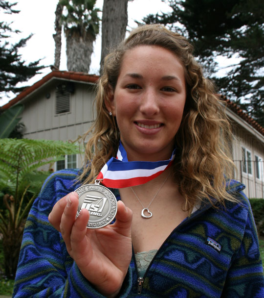 Laguna Blanca School junior Carly Shevitz shows off her second-place medal from the U.S. Sailing Youth World Qualifier Regatta.