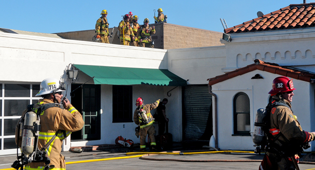 Andrew Gordon Easton, 41, a homeless man, was arrested for allegedly starting a two-alarm fire Thursday in a vacant downtown Santa Barbara building. (Lara Cooper / Noozhawk photo)