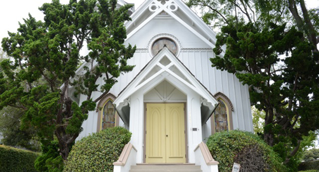 The quaint little church at 2020 Chapala St. in Santa Barbara has had several incarnations — at several locations — in its 137-year history. (Jenn Kennedy / Noozhawk photo)