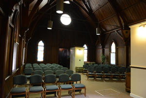Much of the beautiful interior of the church was fashioned from redwood. (Jenn Kennedy / Noozhawk photo)