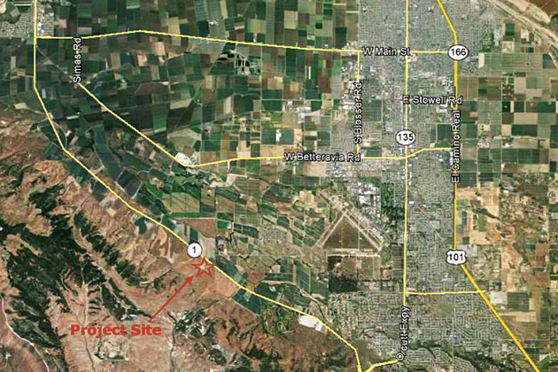 A map shows location of a proposed farmworker housing camp with bunkhouses and more planned for the site on Highway 1 near Black Road in the Santa Maria Valley.