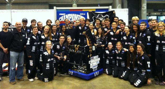 <p>Dos Pueblos Engineering Academy's Team 1717 gets a post-championship photo opportunity with Penguinbot 9 and the Industrial Design Award the team earned for its performance at the FIRST World Championships in St. Louis.</p>