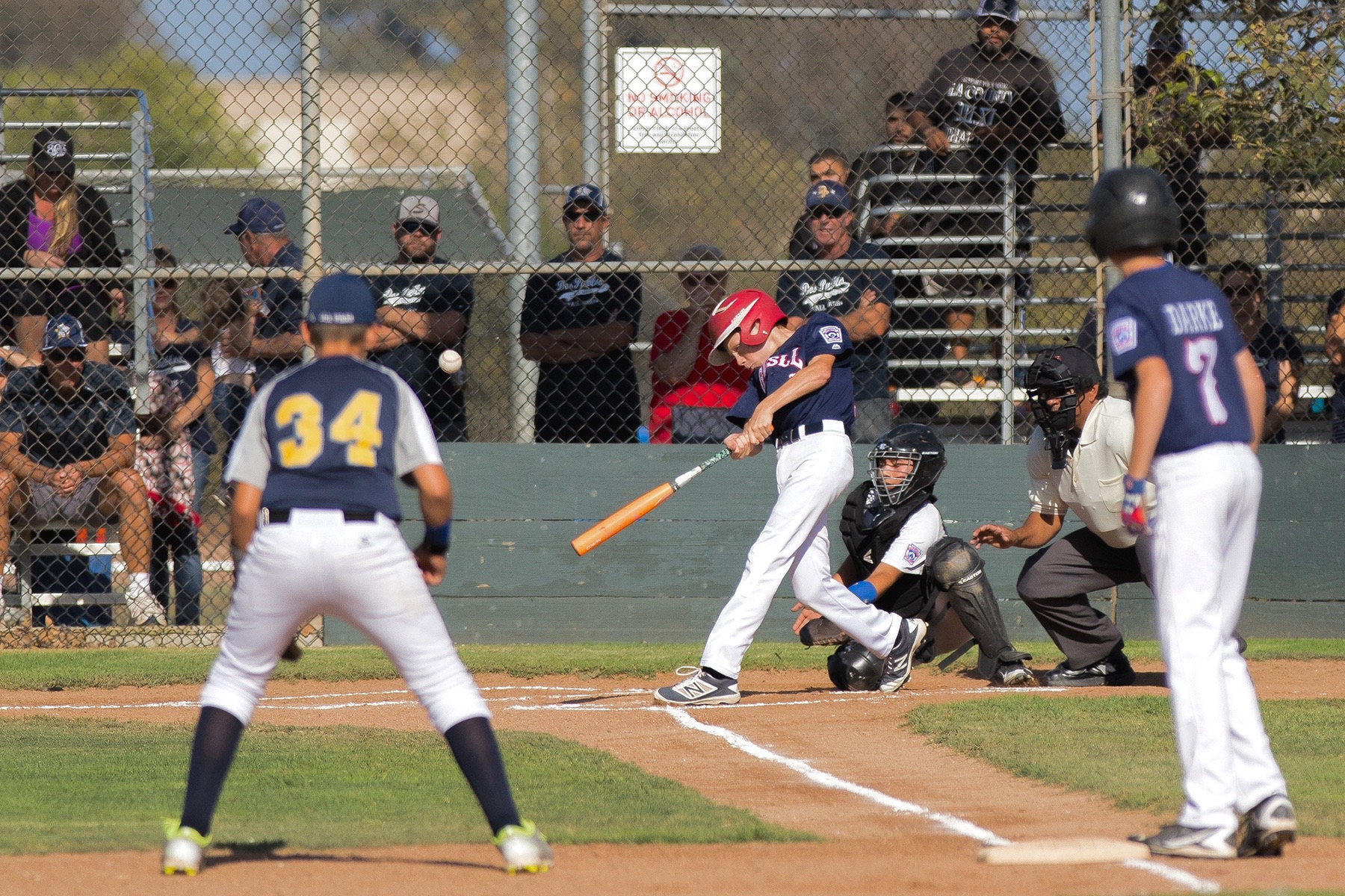 Goleta Valley's Michael Luckhurst smacks a three-run homer duirng the second inning of Tuesday's District 63 final against Dos Pueblos at Girsh Park.