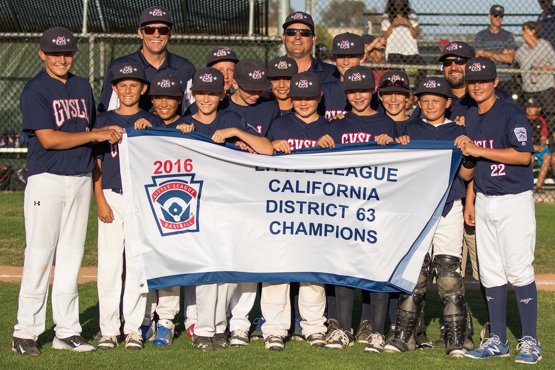 The Goleta Valley South Little League 12-under All-Star team celebrates after winning a District 63 title on Wednesday evening at Girsh Park.