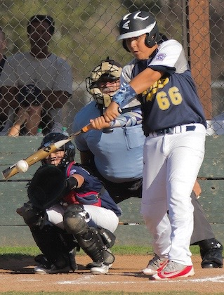 Dos Pueblos pinch hitter Joe Molina makes contact during the fifth inning of Wednesday's contest Girsh Park.