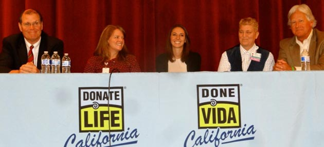 First United Methodist Church of Santa Barbara was the scene of The Gift of Life Forum on Organ Donation on Saturday evening. The panelists included, from left, Dr. Darol Joseff, chairman of Santa Barbara Cottage Hospital's Internal Medicine Department; Anne Grey, executive director of One Legacy Foundation; Dr. Lauren Wood, a urologist at Cedars-Sinai Medical Center in Los Angeles; Chaplin Pam Washburn, Cottage Hospital's director of spiritual care; and organ donor Randy Weiss. (Weiss family photo)