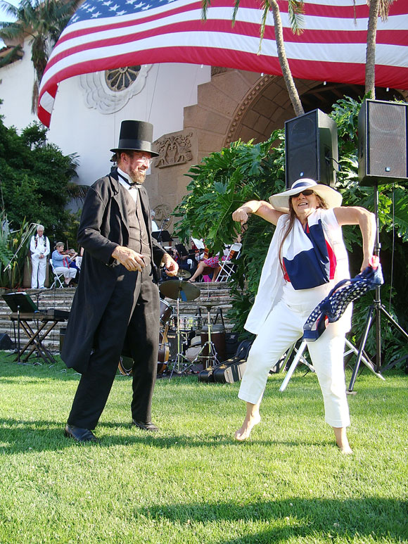 Abraham Lincoln, aka Don Ancell, gets in the groove at the Santa Barbara County Courthouse Sunken Garden during Independence Day festivities.