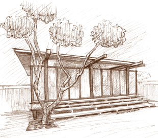 The Paul Tuttle and Lawrence Harlow-designed Dangerfield Beachhouse in Carpinteria is an example of Early Modern architecture.