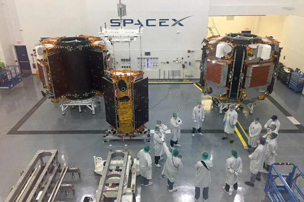 This photo from the Iridium corporate Twitter account shows the Iridium Next satellites being prepped for launch. This will be the fourth set of 10 per mission to fly from Vandenberg Air Force Base this year.