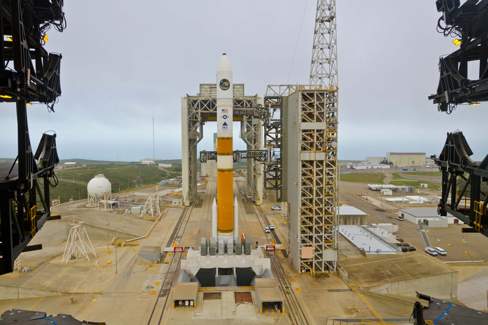 In this United Launch Alliance photo from the 2012 mission, a Delta IV rocket sits at Space Launch Complex-6 on south Vandenberg Air Force Base awaiting a mission for the National Reconnaissance Office. A similiar Delta IV Medium rocket will conduct a mission for the NRO in January after a delay.