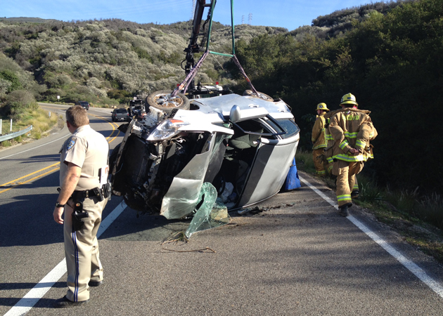 <p>A driver spent more than 15 hours trapped in the wreckage of his car after it crashed into a ravine along Highway 154 near Santa Barbara. He was rescued Tuesday.</p>