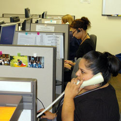 Santa Barbara County elections workers staff a phone bank Monday, answering questions from voters. (Tom Bolton / Noozhawk photo)