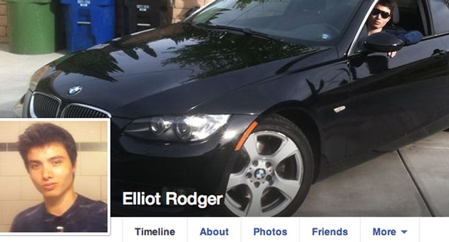 Elliot Rodger, the apparent gunman in a rampage that claimed seven lives in Isla Vista on Friday night, is seen behind the wheel of a black BMW couple in this photo from his Facebook page. The inset photo is one of dozens of 'selfie' photos he posted on Facebook.