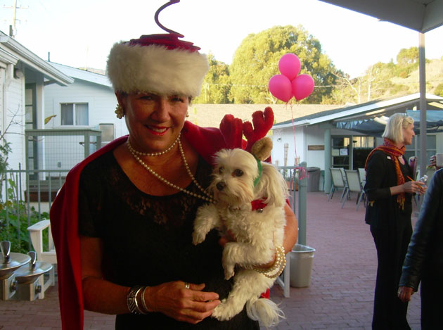 Toni Parnham and her pooch, Missy, get in the holiday spirit.