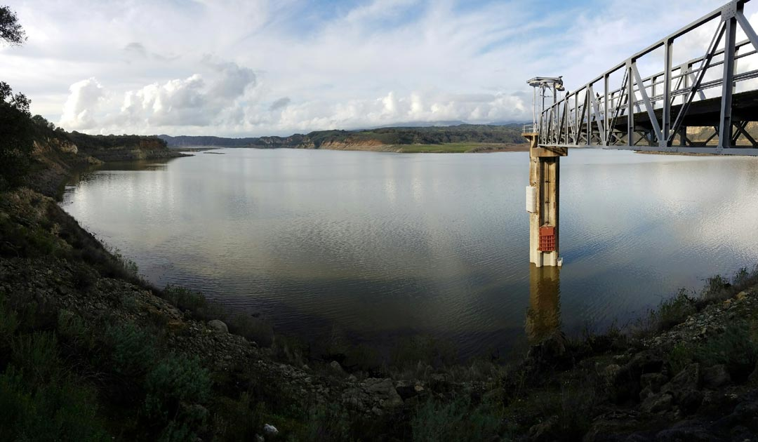 Seen after the February 2017 heavy rains, the Lake Cachuma water levels rose enough to submerge the bottom of the intake tower at the eastern end of the reservoir.