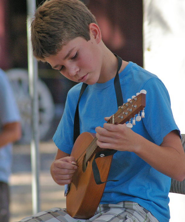 Another young musician shows his stuff on the competition stage.