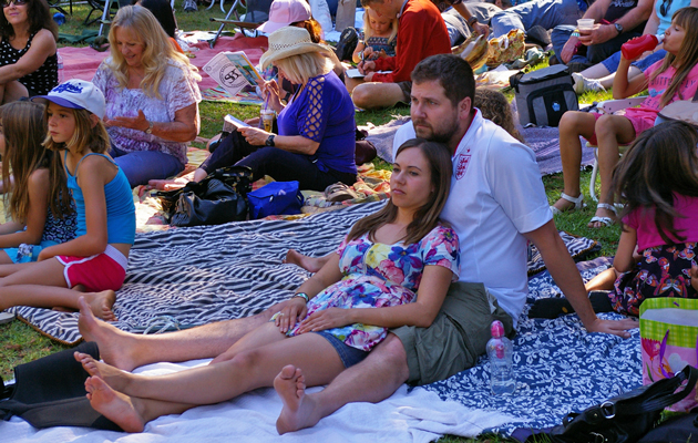 Fans relax to the sounds of the Cache Valley Drifters.