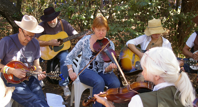 A group of musicians plays a tune during one of many impromptu jam sessions.