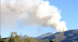A plume of smoke rises from a vegetation fire threatening homes and prompting evacuations Wednesday in the Painted Cave mountaintop community above Santa Barbara. (Daniel Levy photo)