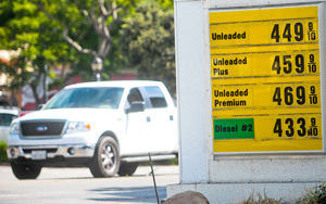 Gasoline prices soared literally overnight on the Central Coast and throughout California on Friday. Regular gas at $4.49 was among the better prices locally. (Lara Cooper / Noozhawk photo