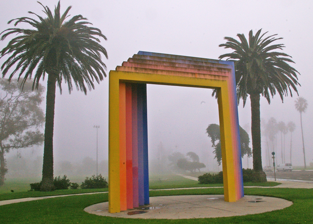 <p>Sunlight and damp sea air have led to significant fading and rust on Herbert Bayer&#8217;s iconic Chromatic Gate sculpture near the Santa Barbara waterfront. A project to restore the sculpture has been delayed, but is expected to get under way in January.</p>