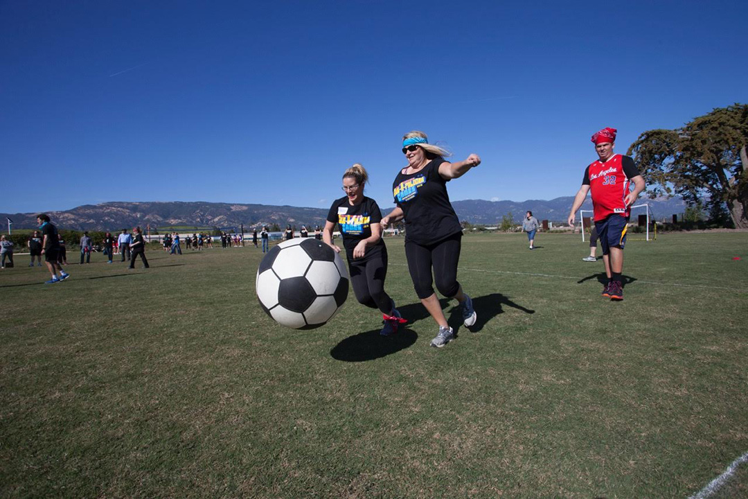 Special Olympics atheletes joined compeitors from various Santa Barbara businesses and competed for a trophy.