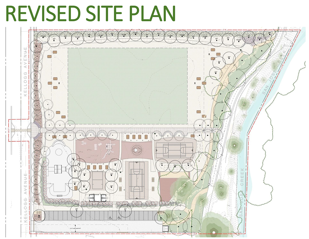 A revised site plan shows the design for the Old Town Goleta park at Hollister and Kellogg avenues.