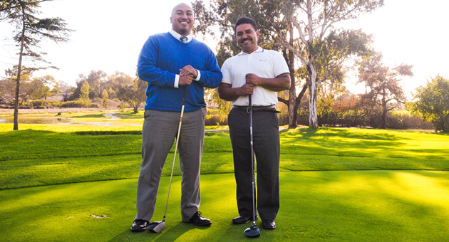 Veteran Raymond Morua, left, of Future Leaders of America, and Ocean Meadows Golf Course general manager Simon Herrera are looking forward to January's tournament, a fundraiser for veterans groups at UCSB. (Lara Cooper / Noozhawk photo)