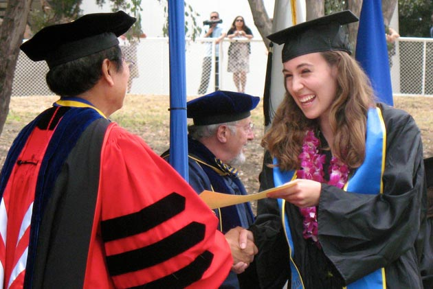 One happy grad receives her diploma from Chancellor Henry T. Yang. (UCSB photo)