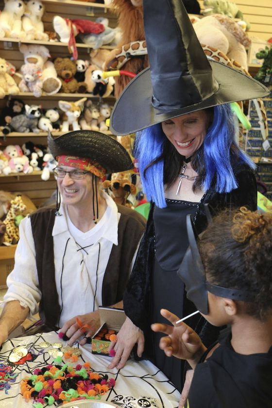 Gretchen and Greg Brinser welcomed trick-or-treaters to Kernohan's Toys. (Glenn Avolio photo)