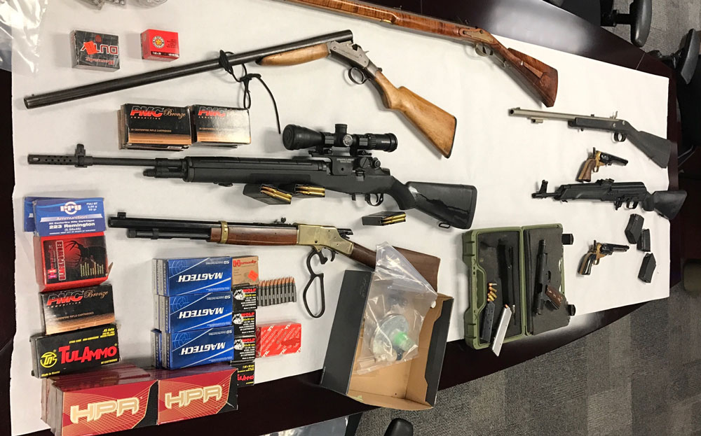 Detectives served a search warrant at the residence near Goleta on Thursday and seized multiple firearms, drug paraphernalia, and suspected methamphetamine. David Palmer, 35, of Santa Barbara was arrested on multiple felony weapons and drug charges.