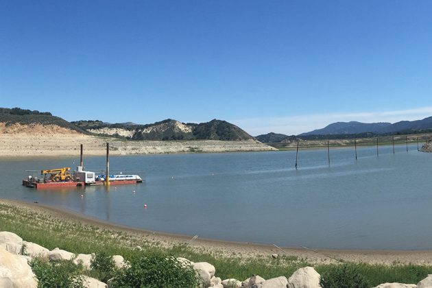 A pumping barge was installed in Lake Cachuma to continue water deliveries to the Santa Barbara County South Coast as reservoir levels drop during the drought.