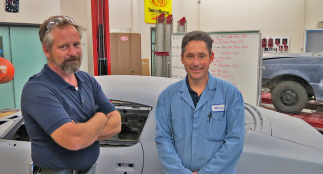 <p>Patrick McGuire, left, and Eric Mason are two of more than a dozen faculty members in the Allan Hancock College industrial technology program who graduated from or took classes at the college before coming back as instructors.</p>
