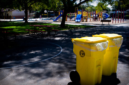 Students at Harding University Partnership School routinely sort what they throw away in yellow compost bins — along with trash and recycling containers — conveniently located throughout the campus on Santa Barbara's Westside.