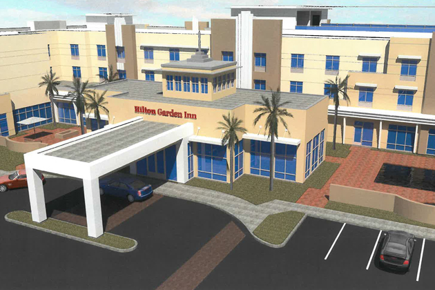Goleta's Design Review Board has approved some revisions to the Hilton Garden Inn project at Hollister Avenue and Storke Road, including more balconies on the second and third floors.