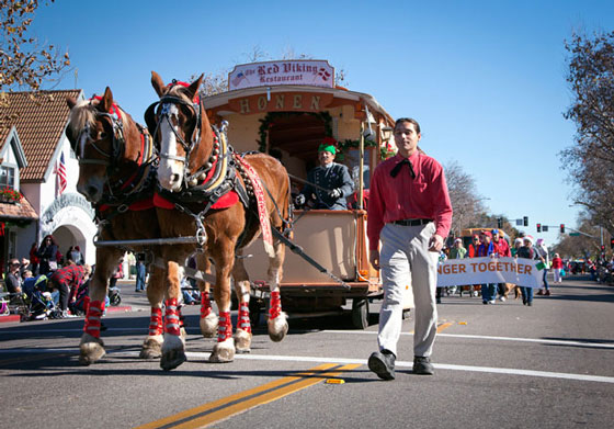 Best Vehicle Entry went to the Solvang Trolley (The Honen) carrying Solvang Chamber of Commerce board members. (Solvang Conference & Visitors Bureau photo)