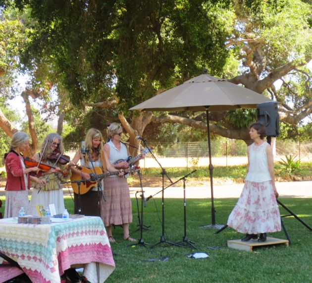 The Honeysuckle Possums regaled guests with their old-time music at the Goodland Garden Gathering. (Rochelle Rose / Noozhawk photo)
