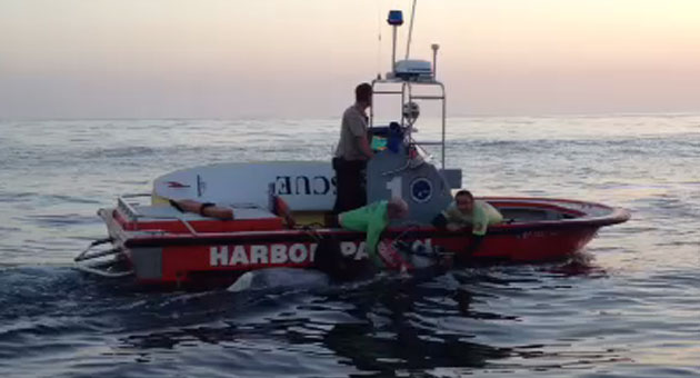 Santa Barbara Harbor Patrol crews rescue a horse that swam 2.5 miles offshore from Summerland Beach on Tuesday after it spooked and threw its rider.