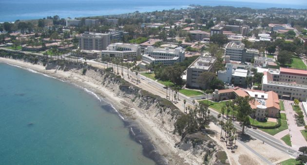 The UC Santa Barbara campus beckons as A Different Point of View aircraft flies above. (Shaun Kahmann / Noozhawk photo)