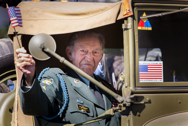 Arthur Petersen, 101st Airborne Division, rode in Sunday's Veterans Day Weekend parade down State Street in Santa Barbara.