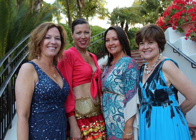 Gaile Haslem, left, Nicki Parr, Yumi Bollag and Montessori Head of School Patricia Colby celebrate the school's Rio Carnival-themed benefit gala at Bacara Resort & Spa.