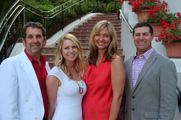 Event co-chair David Edelman, left, of Fielding Graduate University, Lisa Dosch, executive director of the American Heart Association-Central Coast, Jill Fonte, Sansum Clinic's director of marketing, and Dr. Joseph Aragon, Sansum Clinic cardiologist and AHA-Central Coast board president, dress in 'Santa Barbara chic' — red or white with jeans — for the 14th annual Santa Barbara Heart Ball at the Bacara Resort & Spa.