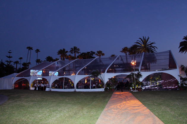The large outdoor tent with a view of the stars.
