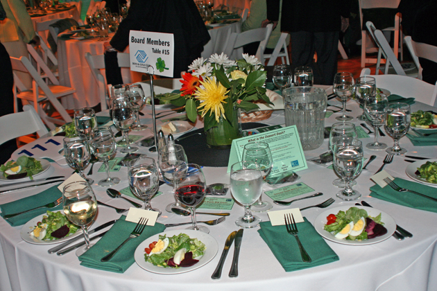 Tables were decorated in a festive St. Patrick's Day theme.