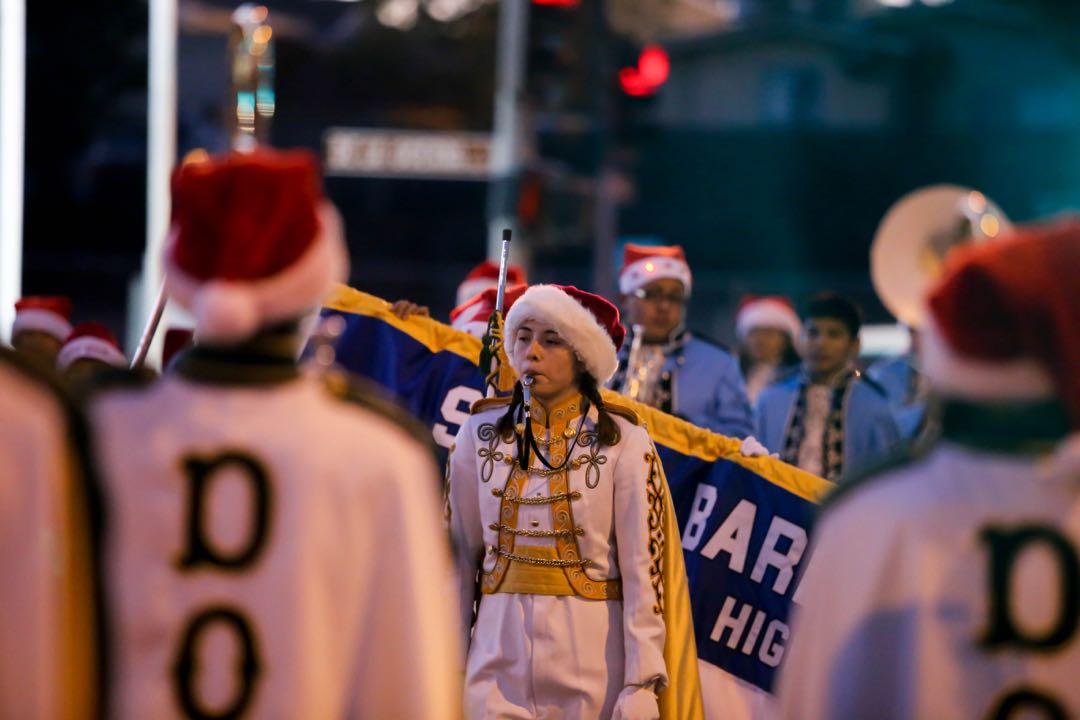Among the bands participating in Saturday's annual Milpas Holiday Parade were ones from nearby Santa Barbara Junior High and Santa Barbara High schools.