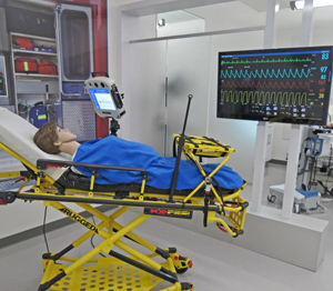 A demonstration room at InTouch Health in Goleta stands ready all hours of the day so doctors can remotely access robots and practice care on dummies. (Gina Potthoff / Noozhawk photo)