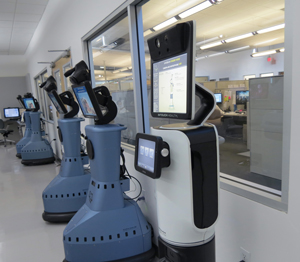 Goleta-based InTouch Health produces remote-control robotics that allow a remote clinician to see and interact with patients and staff while independently managing care delivery just as if they were physically present. (Gina Potthoff / Noozhawk photo)