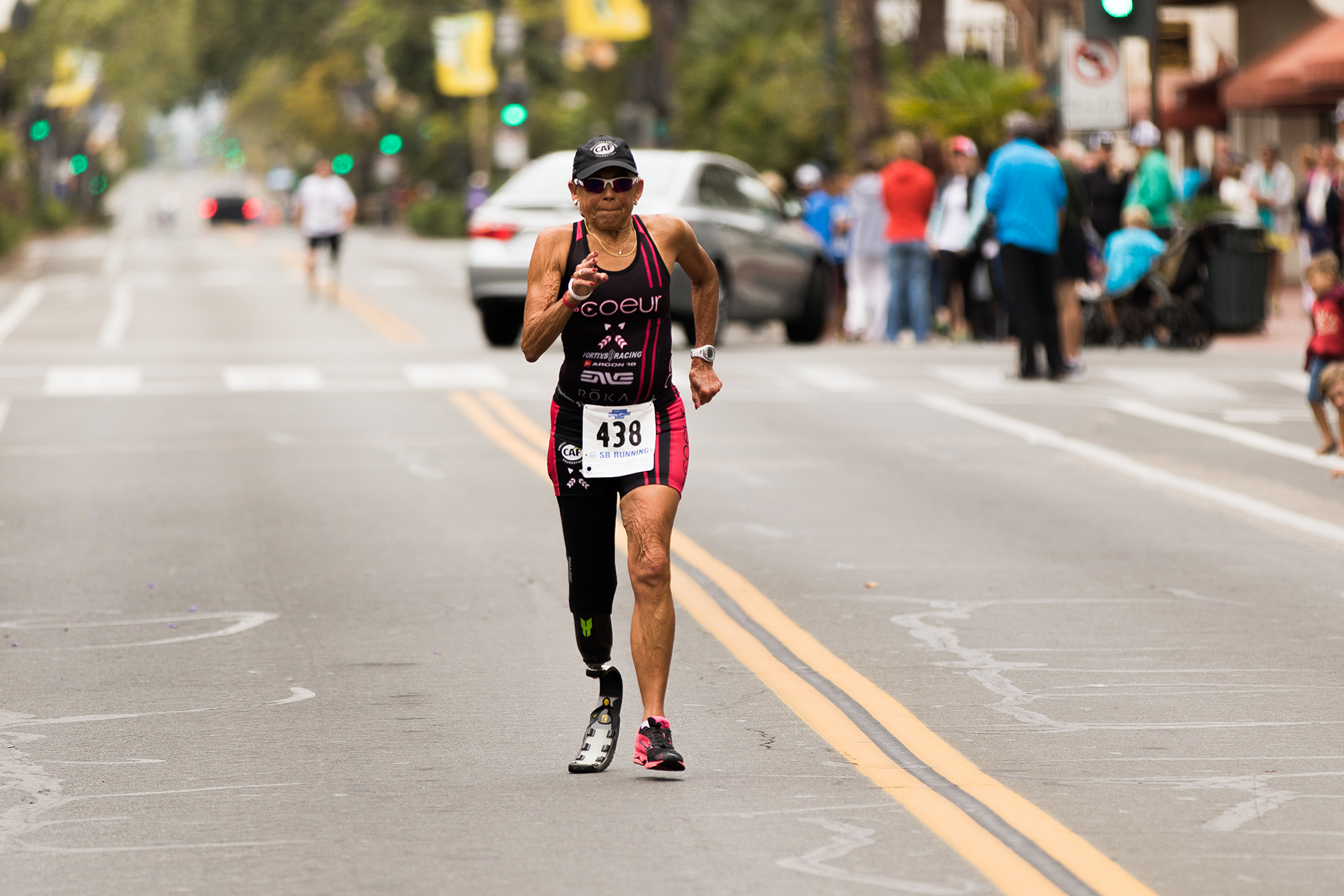 With a time of 13:58, Karen Aydelott, 70, of San Luis Obispo finished first Amputee Athletes women's division.